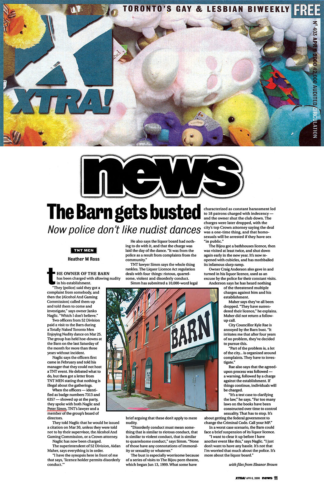 "Xtra [Toronto] 2000-04-06 - Barn charged with ""permitting disorderly conduct"""